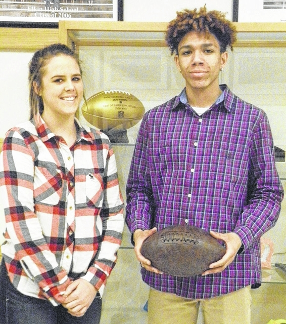 Elkin High School receives Super Bowl 50 golden football honoring alumnus Jeff Hayes who played for the Washington Redskins