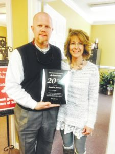 Brown honored for 20 years of service