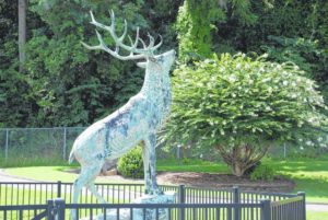 One antler on the bronze Elk statue at Elkin High School is missing; officials want it returned