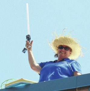VIDEO: Elkin Elementary School Principal Pam Colbert raises funds on the roof of the school for Special Needs Equipment
